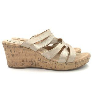 B.O.C. Born Tan Leather Wedge Sandals Shoes C31246